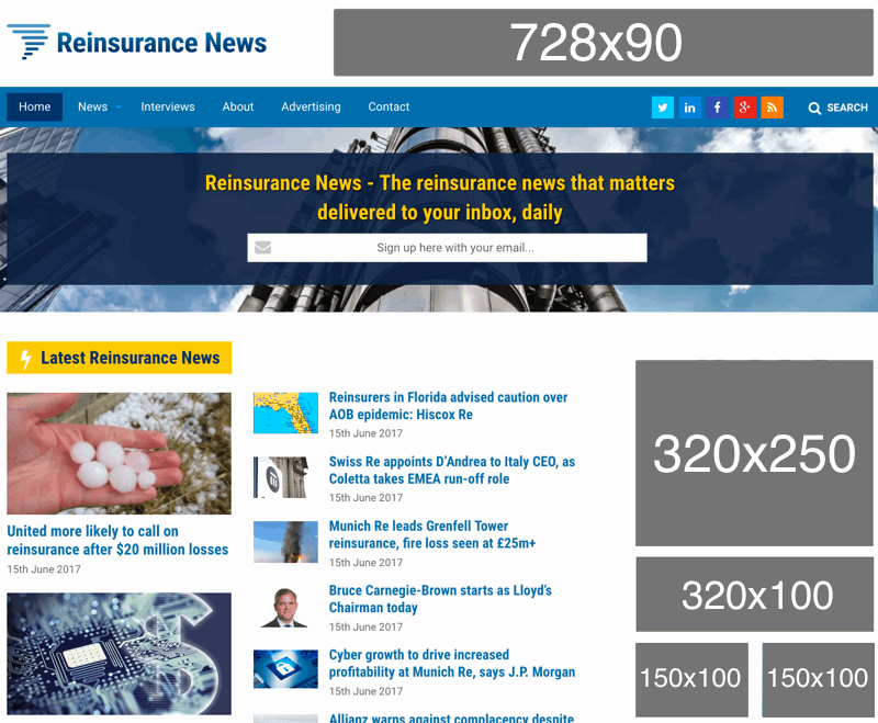 Reinsurance News website screenshot