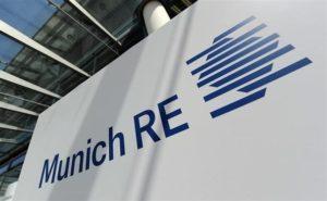 Munich Re logo on a sign