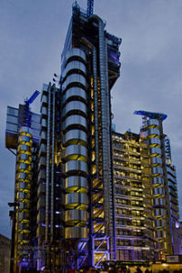 Lloyd's of London building at night