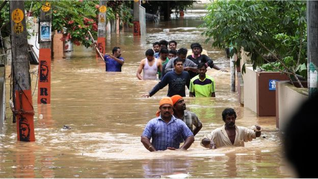 Kerala, India flooding - Image by Kaviyoor Santoosh via BBC