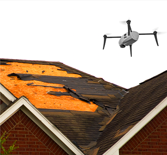 Kespry drone over damaged roof
